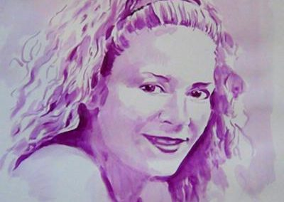Titre : « Portrait violet » Date d'exécution : 2014. Matières : acrylique délavée sur papier 120 grms. Format vertical : hauteur = 59cm / largeur = 42cm. Prix de vente : 200 euros (211.50 CHF) + frais de port.