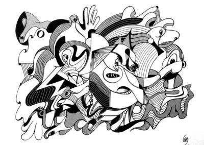 Titre : Street / Format : 24x32 cm / Matières : Posca sur papier dessin / Prix : 250 euros / Achat : nous contacter, nous vous mettrons en relation avec l'atelier de Céline Donnet.