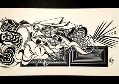 Titre : Transformation / Format : 14x27 cm / Matières : Posca sur papier dessin / Prix : 200 euros / Achat : nous contacter, nous vous mettrons en relation avec l'atelier de Céline Donnet.