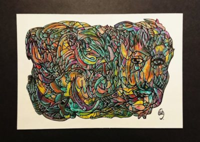 Titre : Jungle / Format : 14.8x21 cm / Matières : Acryliques et posca sur papier à dessin / Prix : 170 euros / Achat : nous contacter, nous vous mettrons en relation avec l'atelier de Céline Donnet