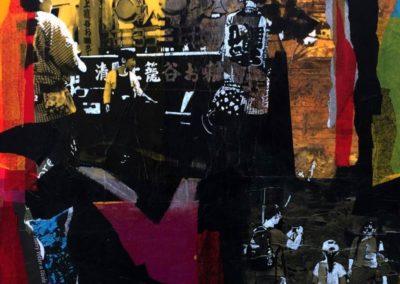 """""""DISTWALL JP 2"""", technique mixte sur toile, 50x50x10 cm, 2019"""