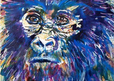Titre : Blue Gorilla / Matière : Encres de couleurs et feutres sur papier aquarelle / Format : 30x30