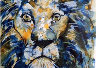 Titre : Blue lion / Matière : Encres de couleurs sur papier aquarelle / Format : 30x30