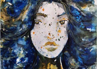 Titre : Young woman / Matière : Encres et feutre peinture sur papier aquarelle / Format : 30x30