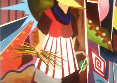 « Cubisme » 95/75cm toile acrylique sur le titre « la faucille de la fierté »