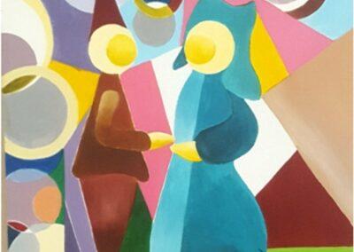 95/75cm toile acrylique « rencontre »