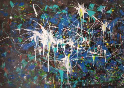 "Acrylique pencil ""Artifices"" 162cmx97cm"
