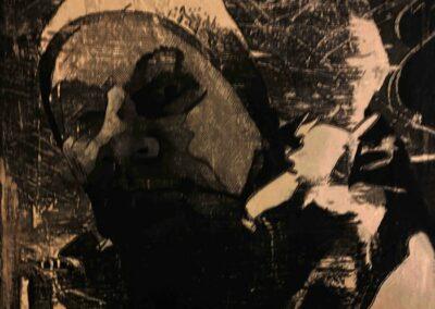 Alain Cabot: Autoportrait N1 Technique de transfert d'images sur toile 3D retravaillé à l'encre en monochrome 30x30 cm, 2021