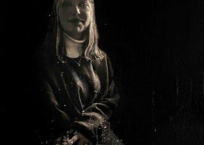 Alain Cabot: Portrait N4 Technique de transfert d'images sur toile 3D retravaillé à l'encre en monochrome 40x40 cm, 2021