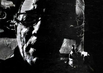 Alain Cabot: Autoportrait Technique de transfert d'images sur toile 3D retravaillé à l'encre en monochrome 30x30 cm, 2021